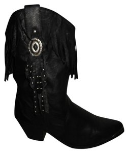 Dingo Western Leather Fringed black Boots