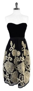 Nanette Lepore short dress Black Cream Velvet Strapless on Tradesy