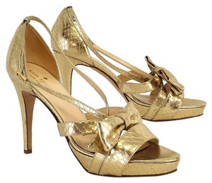 b2c88e279fa Kate Spade Gold Bow Strappy Heels Snakeskin Sandals