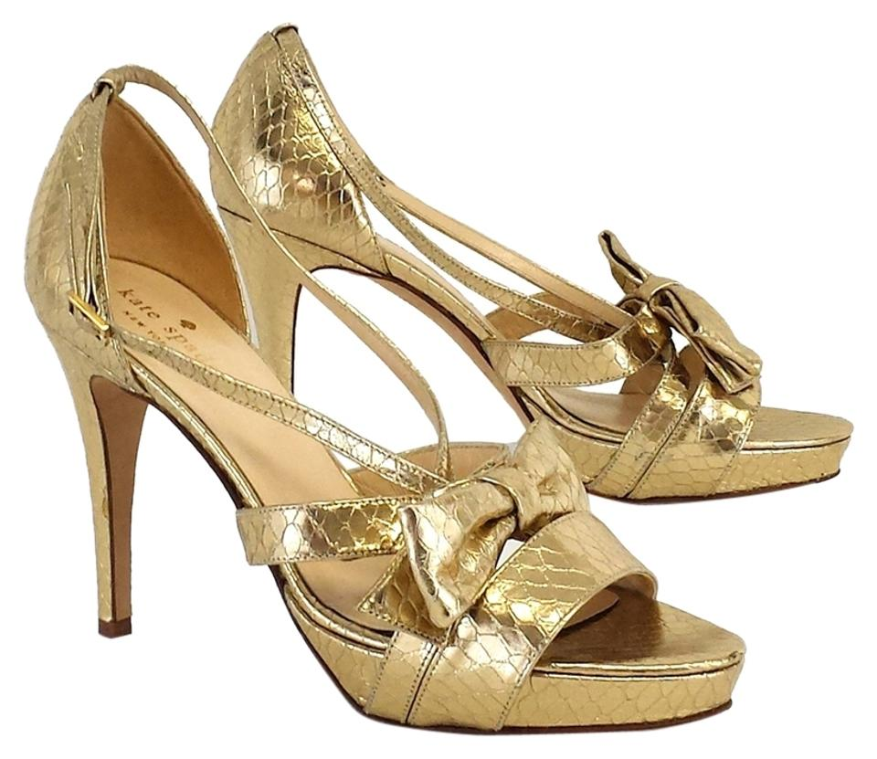 e967024529a Kate Spade Gold Snakeskin Bow Strappy Heels Sandals Size US 7.5 .
