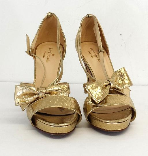 Kate Spade Gold Bow Strappy Heels Snakeskin Sandals