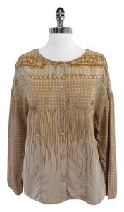 Vena Cava Tan Taupe Print Silk Top