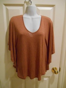 Pleione Cape Sleeve Soft Coral Tan Brownish Medium 8 10 Summer Work Dressy Shirt Anthropologie Rust T Shirt Deep Coral