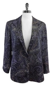 Lafayette 148 New York Purple Paisley Wool Blend Jacket