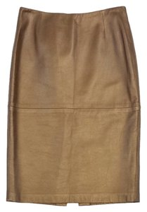 Ellen Tracy Bronze Leather Pencil Skirt
