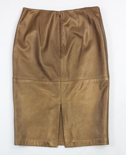 Ellen Tracy Bronze Leather Pencil Pencil Skirt