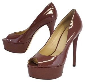 Brian Atwood Bambola Taupe Patent Leather Pumps