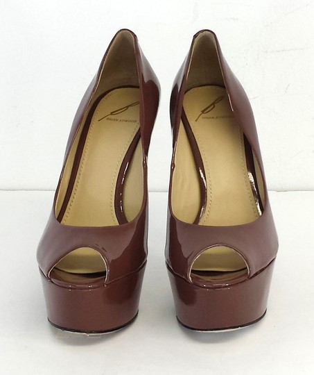 Brian Atwood Bambola Taupe Patent Leather Peep Toe Pumps
