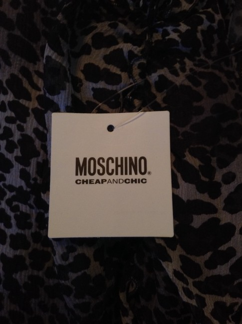 Moschino short dress Grey and Black Leopard Slip Ruffles Date Night Night Out Sleeveless Size 4 on Tradesy