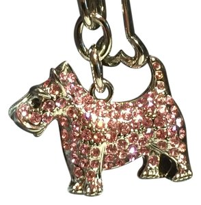 Argento Vivo Key ring Scottish Terrier silver tone with pink Swarovski elements