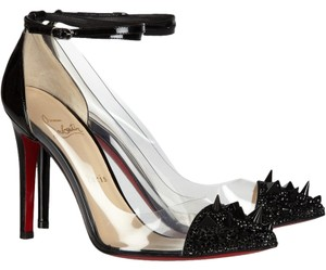 Christian Louboutin Clear Patent Patent Leather Black Stiletto Pointed Toe Ankle Ankle Strap Cap Toe Just Picks 100 100 Mm Just Picks Spike Black, Clear Pumps