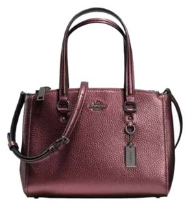 Coach 36877 Pebbled Leather Stanton Carryall Satchel in Metallic Cherry