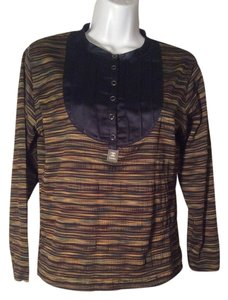 Chanel Stretch Knit Sleeve Shirt Top Multicolor