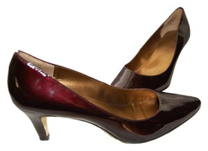 Anne Klein Patent Leather High Heel Career Work Job Office Burgundy Pumps