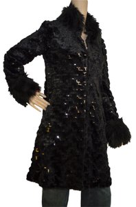Betsey Johnson Polyster Fur Sequins Coat