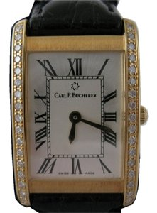 Carl F. Bucherer LADIES' 18 K GOLD TANK with DIAMONDS. EXTRA-SLIM. SWITZERLAND.