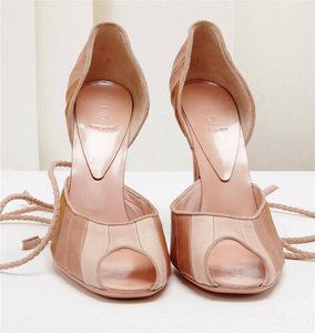 Fendi Tie Up Lace Up Peep Toe Pink Sandals