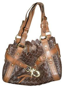 Francesco Biasia Leather Woven Gold Hardware Timeless Classy Make A Statement Shoulder Bag