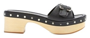 Prada Leather Clog Platform Sandals Black Mules