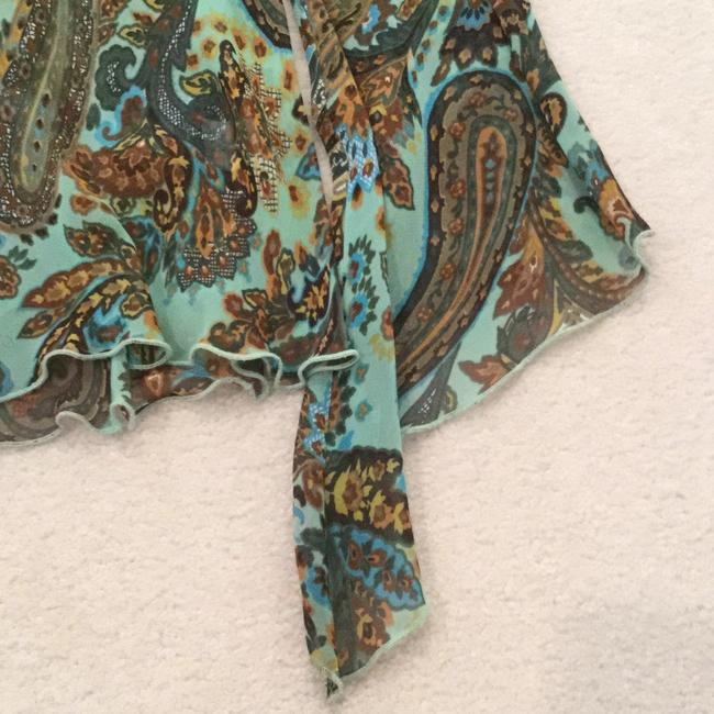 Other Paisley Blue Flowy Top Aqua, teal, brown, green