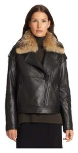 Vince Motorcycle Black Leather Jacket with Coyote Fur Collar Leather Jacket