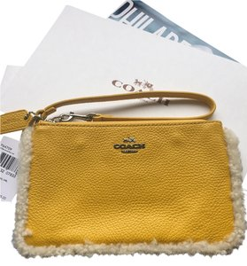 Coach Leather Small Wallet Wristlet in Banana / Neutral