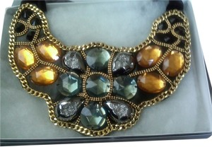 Newport News AN54158 NEW BEADED BIB NECKLACE WITH GROSS GRAIN RIBBON TIES /BLACK MULTI/ STATEMENT