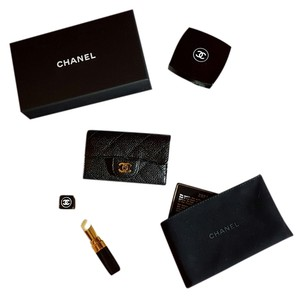 Chanel Chanel Key holder black caviar gold hardware