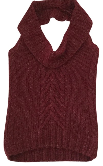 J.Crew Gold Thread Crimson Halter Holidays Sweater