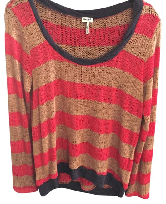 Preload https://item3.tradesy.com/images/splendid-pink-and-tan-stripes-and-navy-sweaterpullover-size-12-l-9642562-0-1.jpg?width=400&height=650