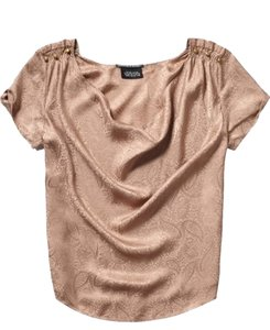 Maison Scotch Paisley Silk Top Bronze Rose Taupe