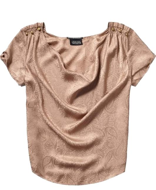 Maison Scotch Paisley Silk Patterned Top Bronze Rose Taupe