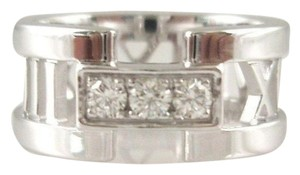 Tiffany & Co. TIFFANY & Co. 18K White Gold Atlas 3 Diamond Open Ring size 4.5