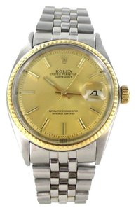 Rolex ROLEX WATCH DATEJUST OYSTER PERPETUAL STAINLESS STEEL GOLD DIAL 1967 WRISTWATCH