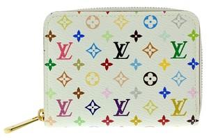 Louis Vuitton Mint Authentic Louis Vuitton Multicolore Monogram White Zippy Coin Purse w/ Litchi Interior
