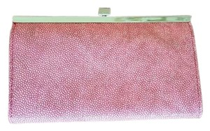 The Limited Rose Colored Leather, Snake Skin Pattern Clutch