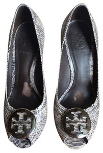 Tory Burch Snakeskin Black, cream, grey Wedges