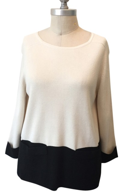 Preload https://img-static.tradesy.com/item/9643585/ann-taylor-black-and-ivory-soft-color-blocking-sweaterpullover-size-2-xs-0-1-650-650.jpg