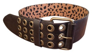 Betsey Johnson Wide Brown Belt with Antique Brass Holes