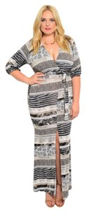 Black & White Maxi Dress by Other Holiday Flattering Wrap Vneck Sexy Party Event Wedding Curvy