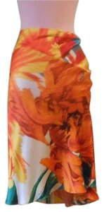 Roberto Cavalli Silk Skirt Orange white floral