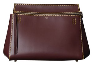 Céline Edge Cool Stitich Winter Office Tote in Burgundy