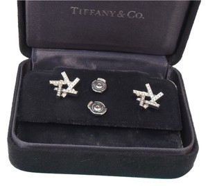 Tiffany & Co. Tiffany & Co. Frank Gehry 18k W. Gold & Diamonds Criss Cross Bar Design Earrings