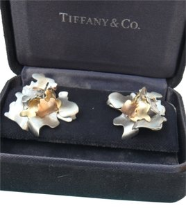 Tiffany & Co. Tiffany&Co Gehry 18K tri color leaves earring, rare find with box