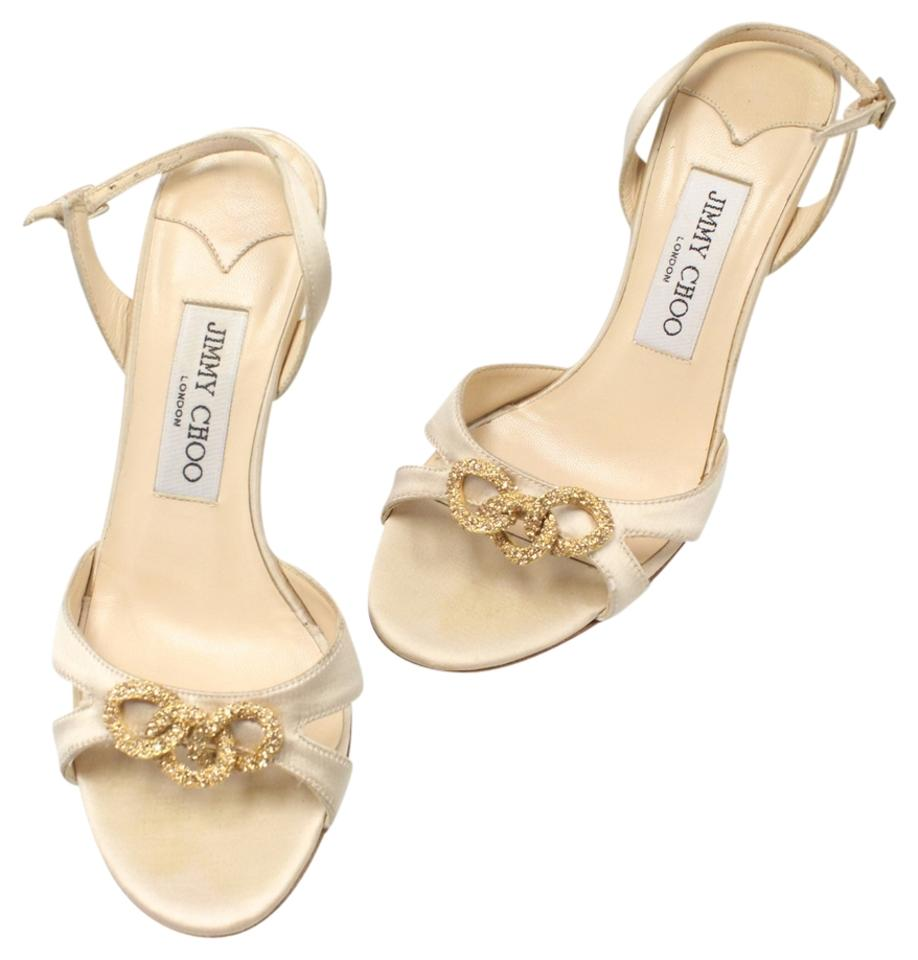 eb2611312bb4 Jimmy Choo White Signature Gold Eternal Pricess Fairytale Heels with G Lock  Detail 36 Formal Shoes