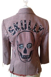 Libertine Skull Burnt Orange and Chocolate Brown Plaid Blazer