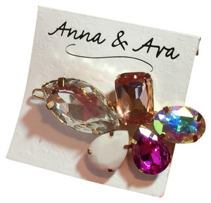 Anna & Ava Hair clip, Fuchsia, clear, iridescent, peach and white crystals with gold hardware
