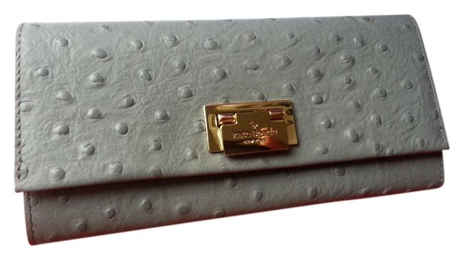Item - Grey Windsor Square Cyndy Ostrich Embossed Leather Msrp Wallet