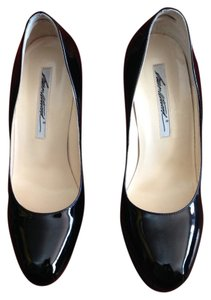 Brian Atwood Maniac Patent Leather Platform Hidden Platform Black Pumps