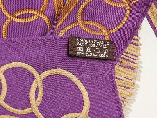 Hermès Purple and White Epaulettes Scarf